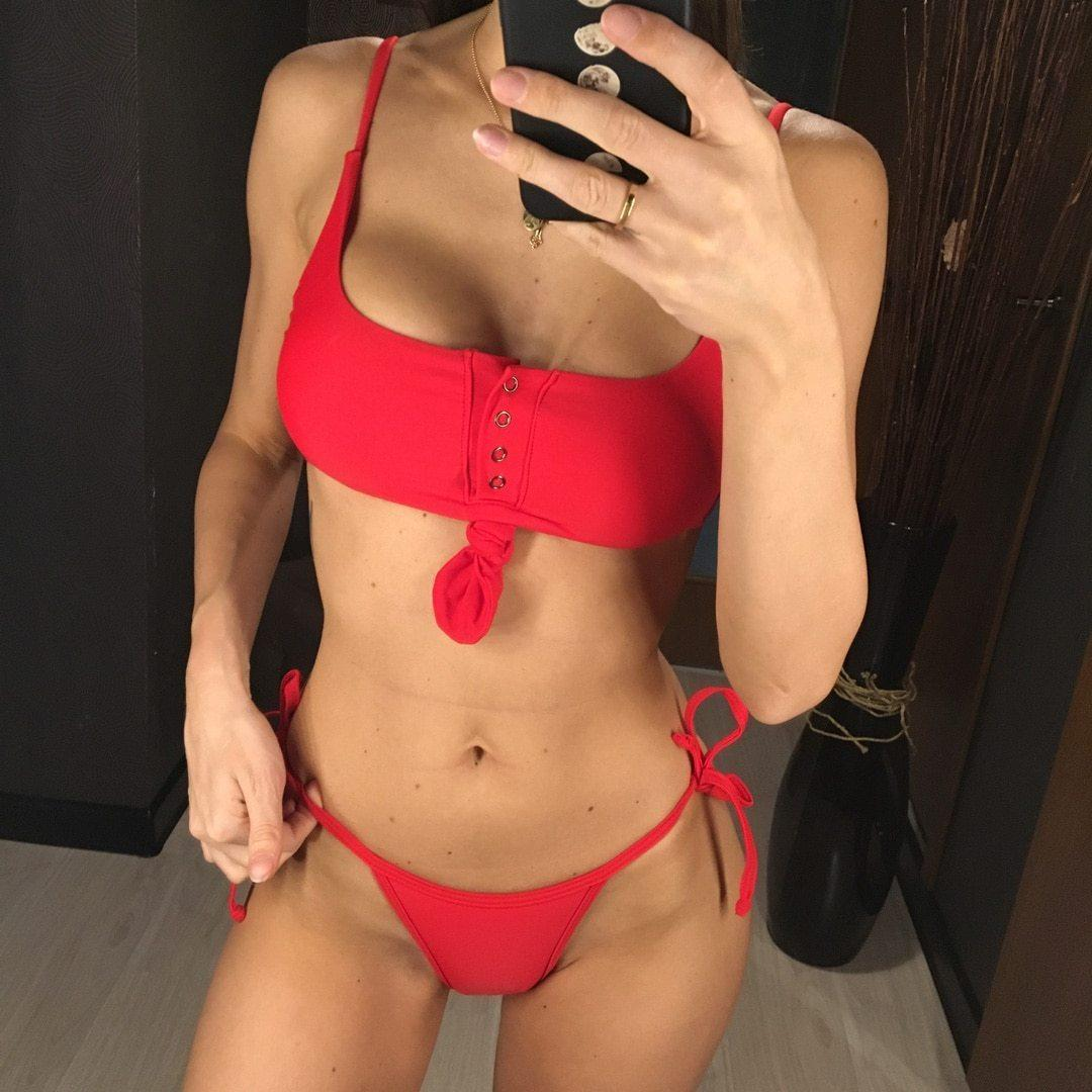 Red Crop Top Bikini Set - Heartbreaker International - Two Piece