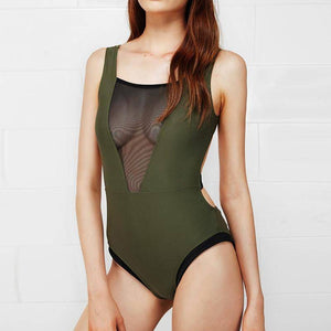 Mesh Army Green One-piece - Heartbreaker International [product_type]