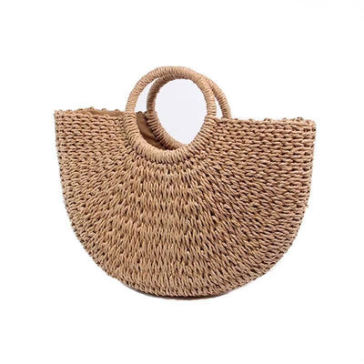 Half Moon Straw Handbag - Heartbreaker International - bags