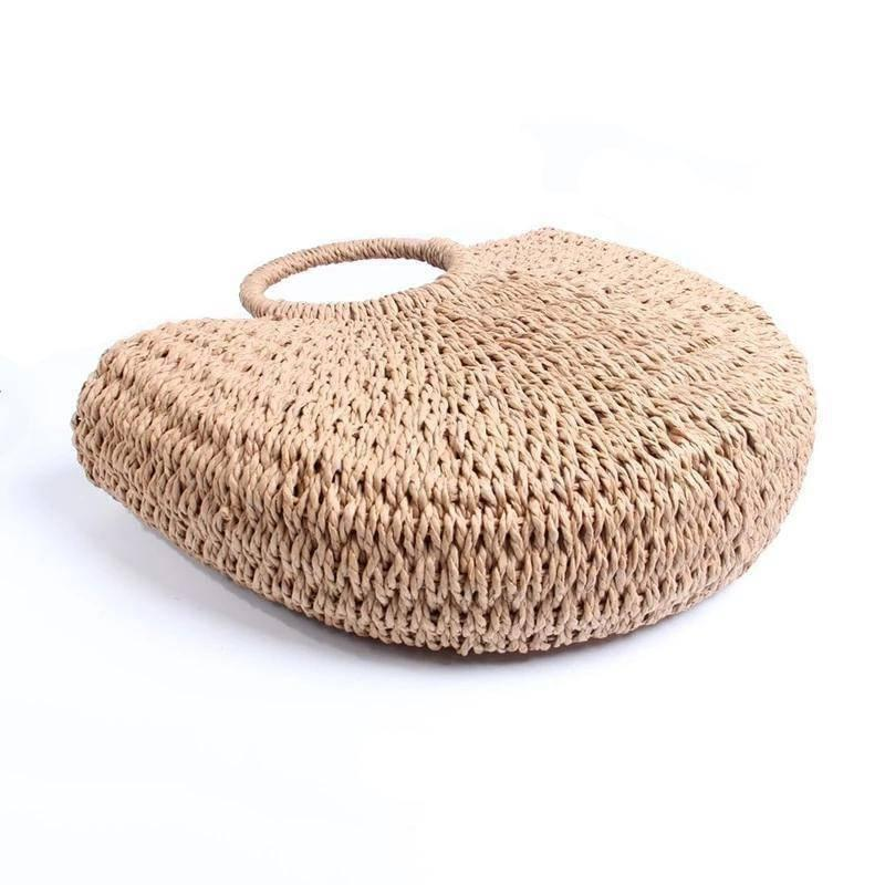 Half Moon Straw Handbag