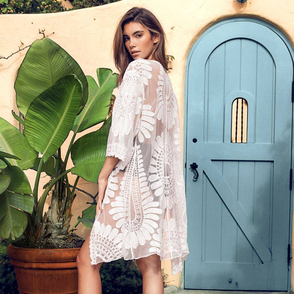 White Embroidery Lace Cover Up - Heartbreaker International [product_type]