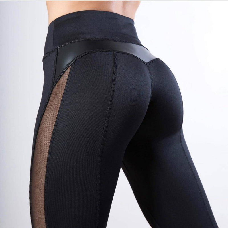 Mesh Leather Performance Leggings - Heartbreaker International - Active