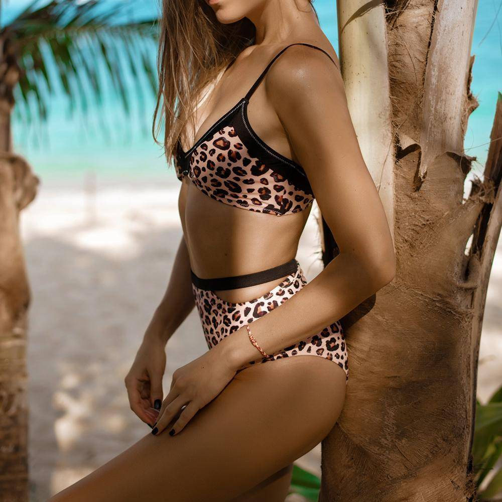 Leopard Print High-waisted Bikini Set - Heartbreaker International -