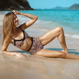 Leopard Print High-waisted Bikini Set - Heartbreaker International [product_type]