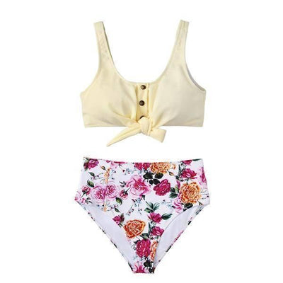 Solid Tie-Front Tank & Floral High-Waisted Bikini Set - Heartbreaker International -