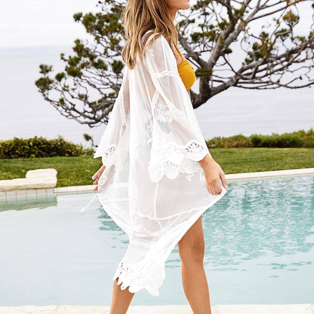White Scalloped Long Cover Up - Heartbreaker International [product_type]