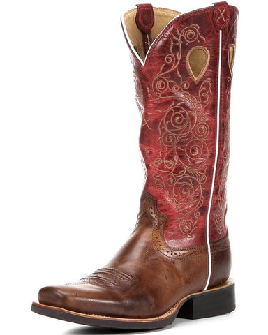 Twisted X Boots Womens Ruff Stock PWS Toe Saddle/Red - silveradowesternwear - 1