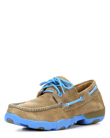 Twisted X Mens Driving Moc D Toe Bomber/Neon Blue - silveradowesternwear - 1