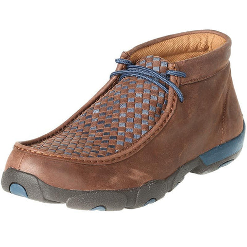 Twisted X Mens Driving Moc D Toe Brown/Blue Checker Pattern - silveradowesternwear - 1