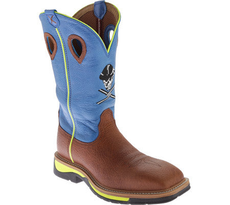"Twisted X Mens Lite Cowboy Work NWS Toe 12"" Brown Oiled Shoulder/Neon Blue (NON STEEL TOE) - silveradowesternwear - 1"