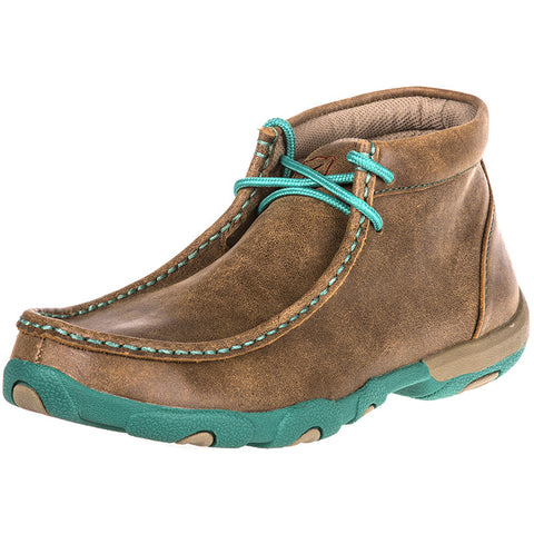 Twisted X Womens Driving Moc D Toe Bomber/Turquoise Shoe - silveradowesternwear - 1