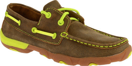 Twisted X Womens Driving Moc D Toe Bomber/Neon Yellow Shoe - silveradowesternwear - 1