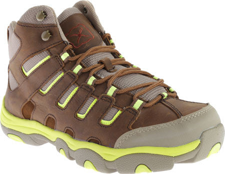 Twisted x Mens Hiker D Toe Distressed Saddle/Neon Yellow Lace Up Shoe - silveradowesternwear - 1