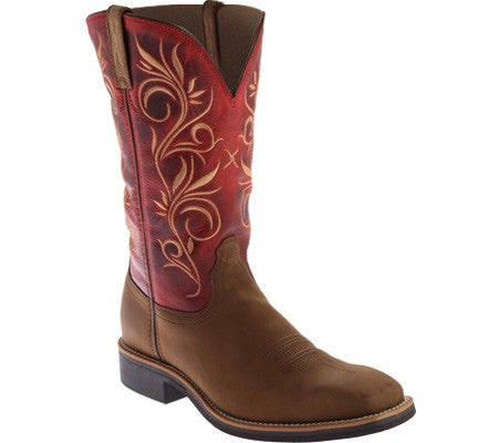 Twisted X Womens Top Hand WS Toe Distressed Saddle/Red Cowgirl Boot - silveradowesternwear - 1