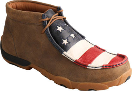 Twisted X Mens Driving Moc D Toe Bomber/Red, White, & Blue - silveradowesternwear