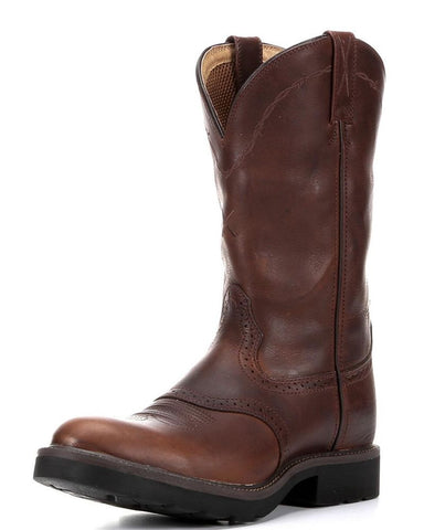 "Twisted X Mens Cowboy Work Pull On U Toe 12"" Oiled Brown/Brown (STEEL TOE) - silveradowesternwear - 1"
