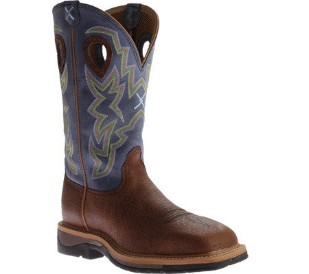 "Twisted X Men's Lite Cowboy Work NWS Toe 12"" Peanut Distressed/Navy (STEEL TOE) - silveradowesternwear - 1"