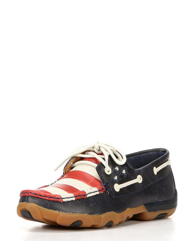 Twisted X Womens Driving Moc D Toe Blue, Red, & White Shoe - silveradowesternwear - 1
