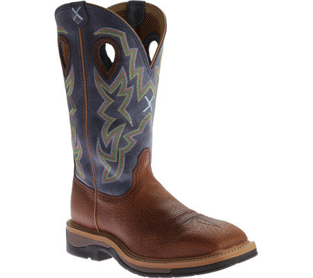 "Twisted X Men's Lite Cowboy Work NWS Toe 12"" Peanut Distressed/Navy (NON STEEL TOE) - silveradowesternwear - 1"