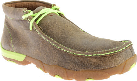 Twisted X Mens Drivng Moc D Toe Bomber/Neon Yellow - silveradowesternwear - 1