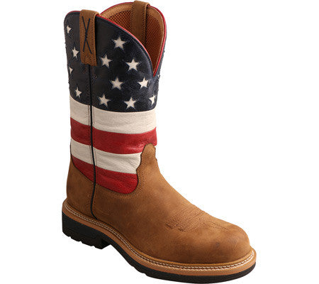 "Twisted X Men's Lite Cowboy Work B Toe 12"" Distressed Saddle/Red, White, & Blue (STEEL TOE) - silveradowesternwear"