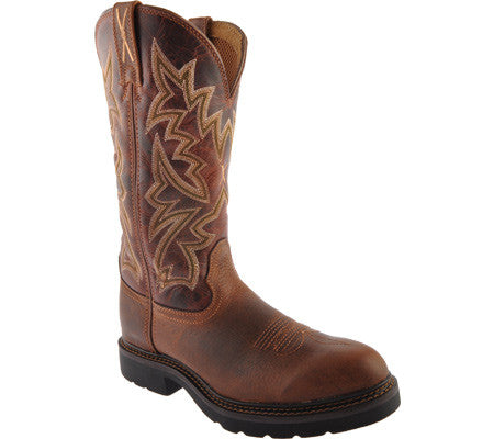 "Twisted X Mens Cowboy Work Pull On U Toe 12"" Brandy/Cognac (NON STEEL TOE) - silveradowesternwear - 1"