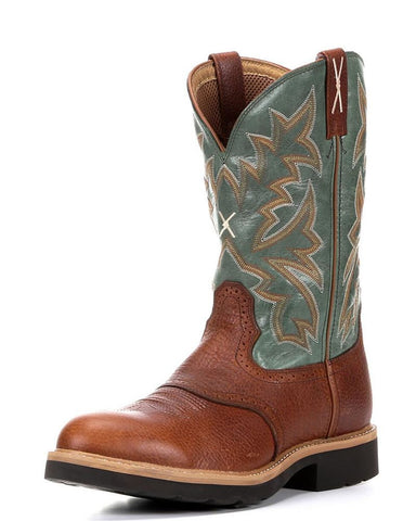 "Twisted X Mens Cowboy Work Pull On U Toe 12"" Cognac Glazed Pebble/Dark Green (STEEL TOE) - silveradowesternwear - 1"