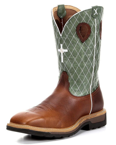 "Men's Lite Weight Cowboy Work NWS Toe 12"" Cognac Glazed Pebble/Lime (STEEL TOE) - silveradowesternwear - 1"