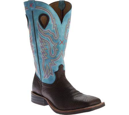 Twisted X Boots Mens Ruff Stock NWS Toe Brown Distressed/Blue - silveradowesternwear - 1