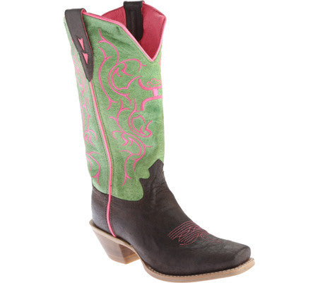 Twisted X Womens Hooey PWS Toe Brown/Lime - silveradowesternwear - 1