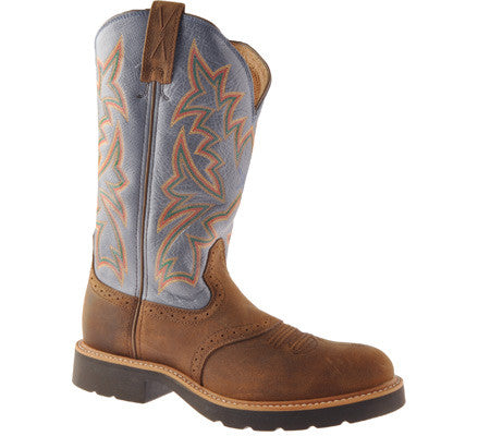 Twisted X Mens Cowboy Work Pull On U Toe 12' Distressed Saddle/Denim (NON STEEL TOE) - silveradowesternwear - 1