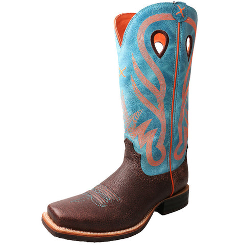 Twisted X Boots Womens Ruff Stock PWS Toe Brown Pebbled/Blue - silveradowesternwear