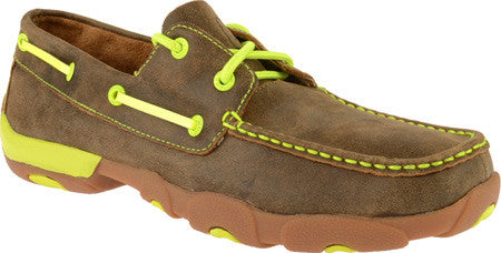 Twisted X Mens Driving Moc D Toe Bomber/Neon Yellow - silveradowesternwear - 1