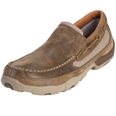 Twisted X Mens Driving Moc D Toe Bomber Slip On Shoe - silveradowesternwear - 1