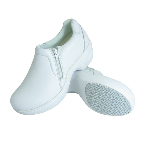 Genuine Grip Women's Slip On Zipper Work Shoe White (NON STEEL TOE) - silveradowesternwear - 1