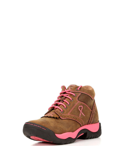 Twisted X Womens All Around Lace Up K Toe Oil Saddle/Pink - silveradowesternwear - 1