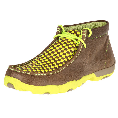 Twisted X Mens Driving Moc D Toe Bomber/Neon Yellow Checker Pattern - silveradowesternwear - 1