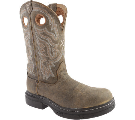 "Twisted X Men's E Z Rider Work Pull On BS Toe 11"" Bomber (STEEL TOE) - silveradowesternwear - 1"