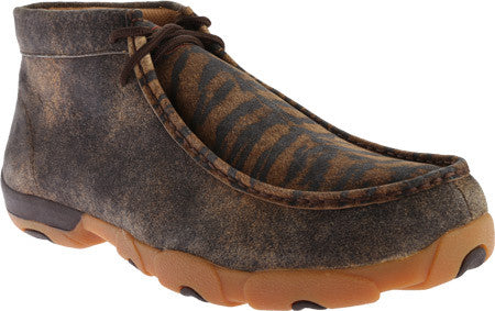 Twisted X Mens Driving Moc D Toe Distressed Tiger - silveradowesternwear - 1