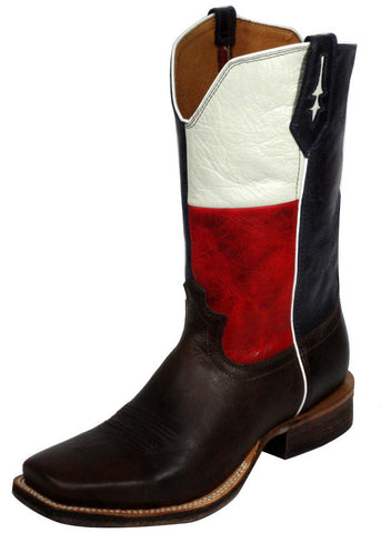 Men's Twisted Red River Chocolate Texas Flag Cowboy Boots - silveradowesternwear - 1
