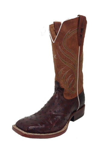 Mens Twisted X Rancher Boot Oiled Brandy Full Quill Ostrich - silveradowesternwear