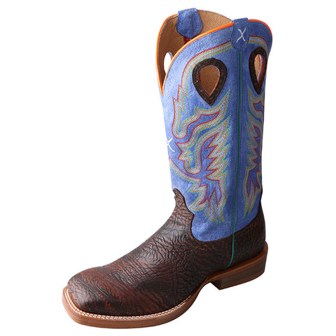 Men's Twisted X Ruff Stock Antique Chocolate Shoulder Cowboy Boots - silveradowesternwear