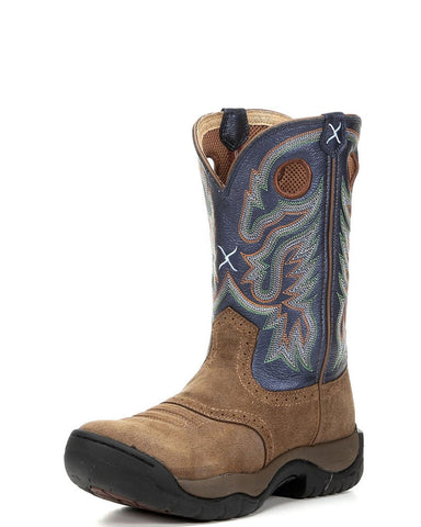 "Twisted X Men's All Around K Toe 11"" Boot - Camel/Blue - silveradowesternwear"