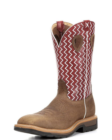 "Twisted X Men's Lite Weigth Cowboy Work NWS Toe 12"" Distressed Saddle Shoulder/Cherry (NON STEEL TOE) - silveradowesternwear - 1"