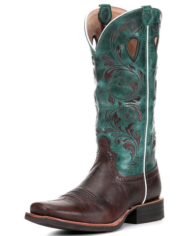 Twisted X Boots Womens Ruff Stock PWS Toe Chocolate/Turquoise - silveradowesternwear - 1
