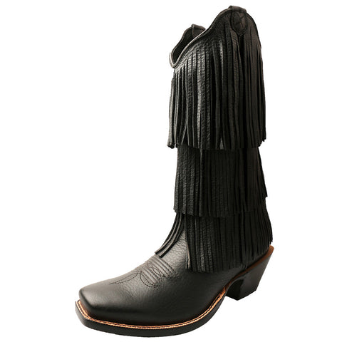 Women's Twisted X Steppin' Out Black Deertan Fringe Cowgirl Boots - silveradowesternwear