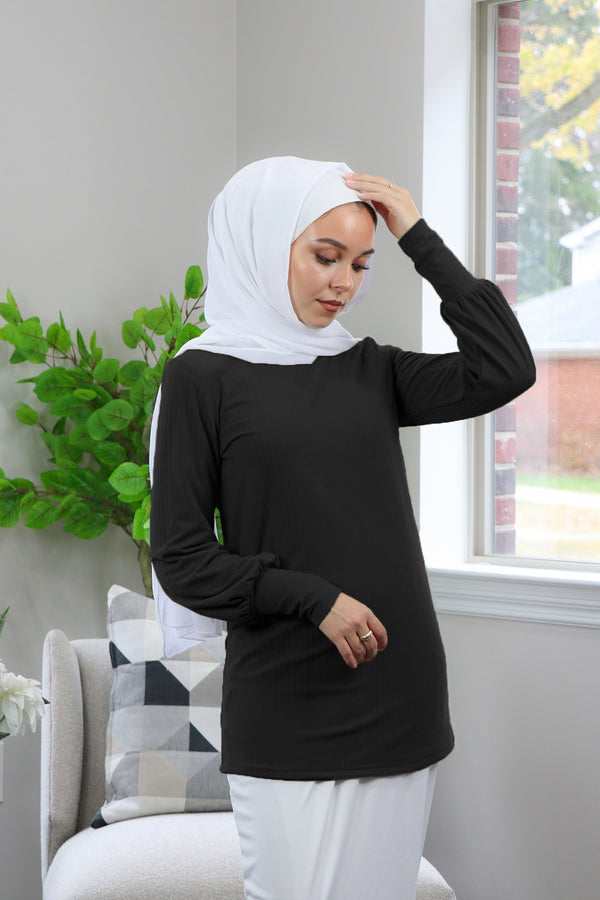 Ribbed Long Sleeve Top- Black