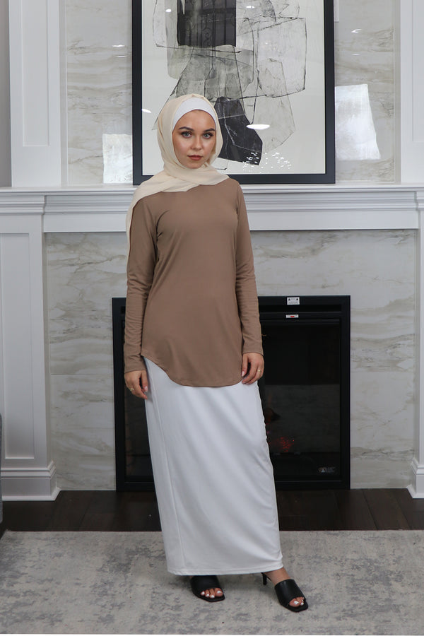 High Neck Long Sleeve Top- Tan
