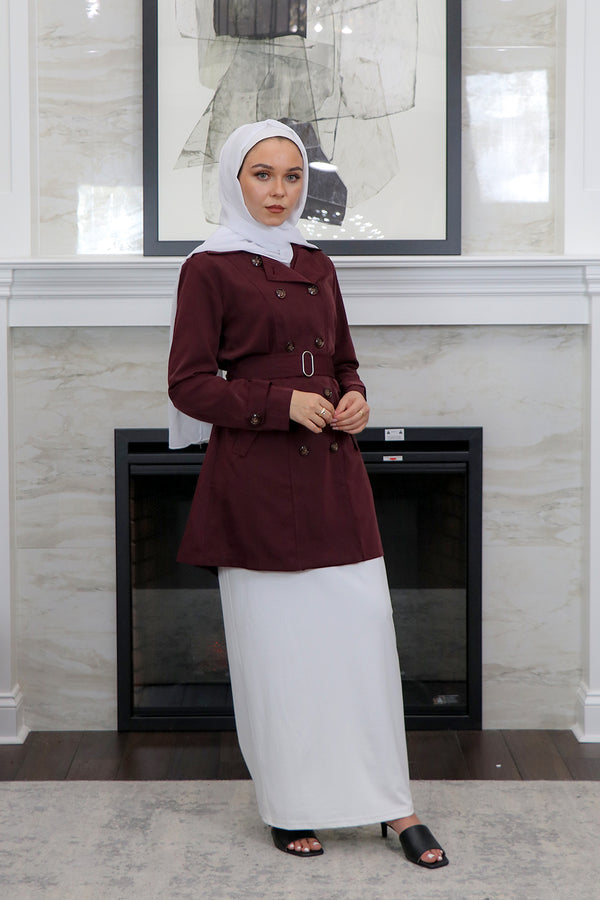 Deluxe Soft Trench Coat - Mahogany