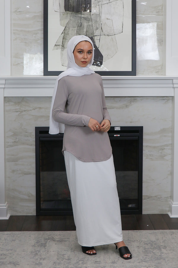 High Neck Long Sleeve Top- Light Gray